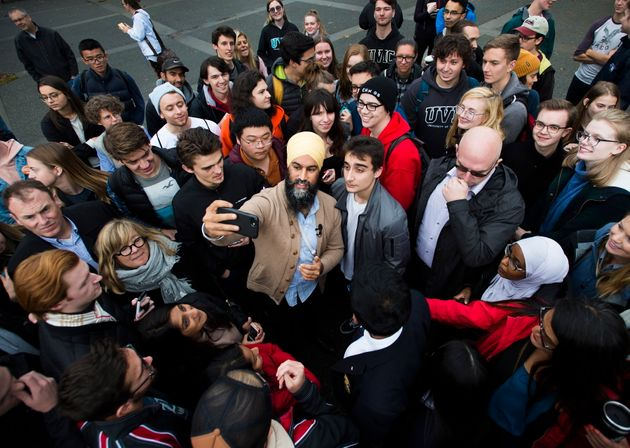 NDP Leader Jagmeet Singh greets students at the University of Victoria during a campaign stop in Victoria...