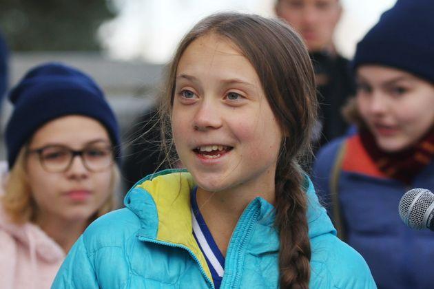 Swedish climate activist Greta Thunberg speaks at a rally at the Alberta Legislature Building in Edmonton,...