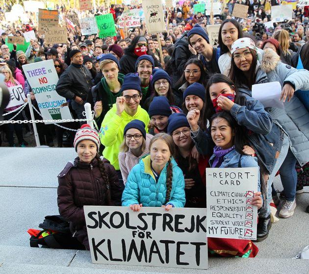 Swedish climate activist Greta Thunberg and youth organizers attend a rally at the Alberta Legislature...