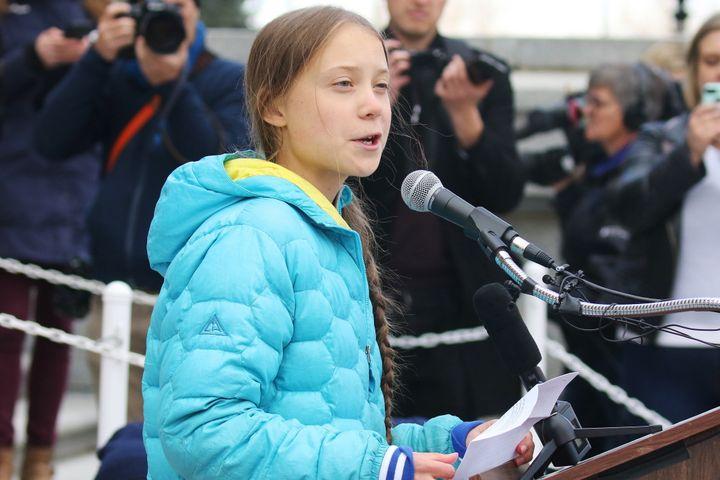 Swedish climate activist Greta Thunberg speaks at a rally at the Alberta Legislature Building in Edmonton on Friday.