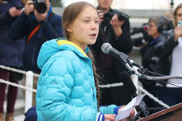 Swedish climate activist Greta Thunberg speaks at a rally at the Alberta Legislature Building in Edmonton...
