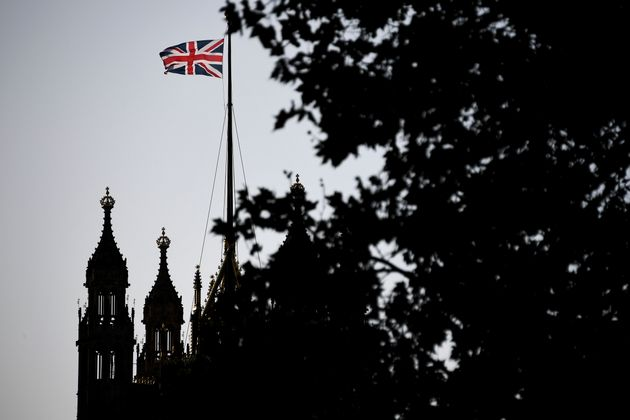 The Union Flag flies over the Victoria Tower, Houses of Parliament, in London, Friday, Oct. 18, 2019....