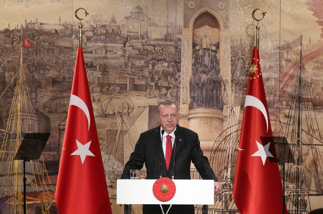 Turkish President Recep Tayyip Erdogan speaks to the foreign media, in Istanbul, Friday, Oct. 18, 2019....