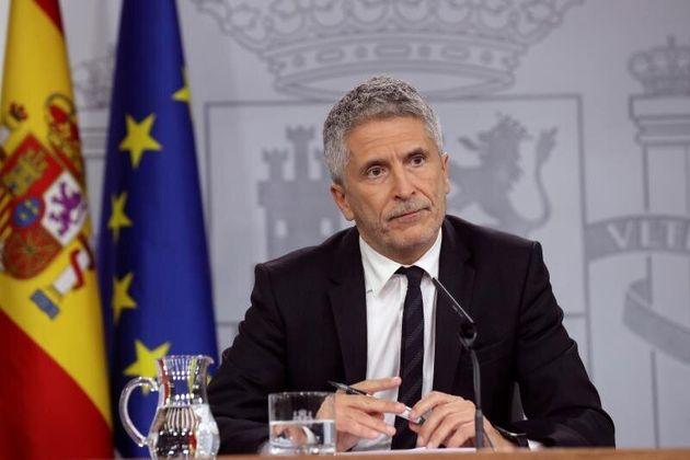 El ministro del Interior en funciones, Fernando Grande-Marlaska, durante su comparecencia de este viernes...