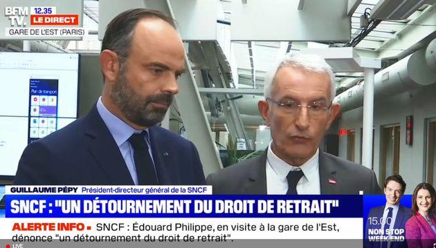 Edouard Philippe s'est rendu gare de l'Est pour rencontrer Guillaume Pepy, le patron de la SNCF et dénoncer...