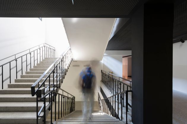 One person walking down stairs in motion effect photography inside