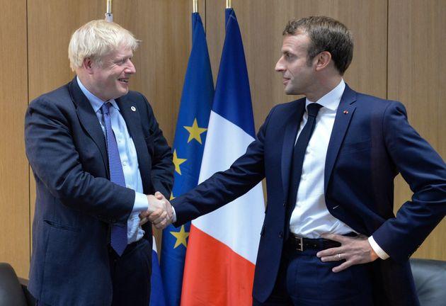 Emmanuel Macron et Boris Johnson lors du Conseil européen à Bruxelles, octobre