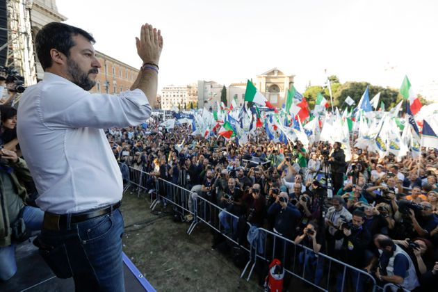 The League leader Matteo Salvini addresses a rally in Rome, Saturday, Oct. 19, 2019. Thousands of protesters...