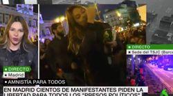 Escupen y agreden a una periodista de La Sexta en una manifestación en apoyo al independentismo en