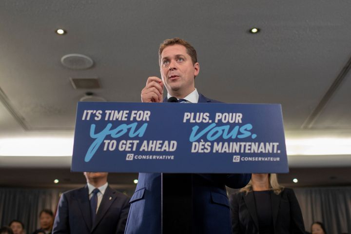 Conservatives Leader Andrew Scheer campaigns for the upcoming election in Toronto on Oct. 19, 2019.
