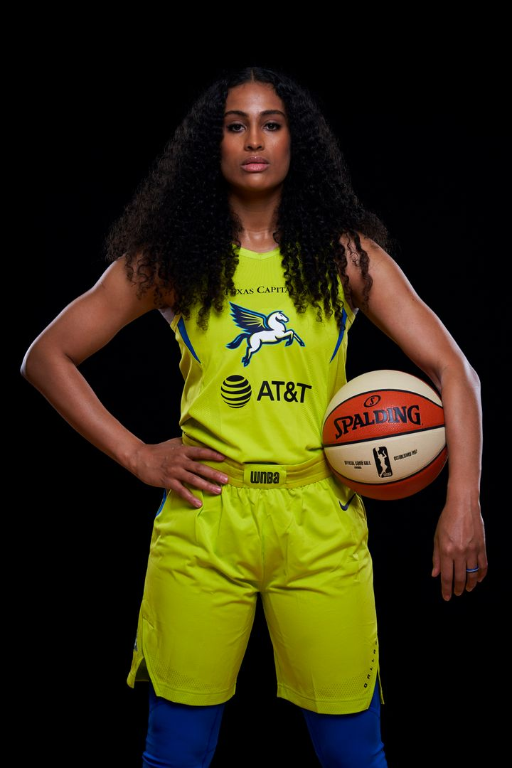 Skylar Diggins-Smith poses in May for a Dallas Wings player photo. She never played for the team this season after taking two