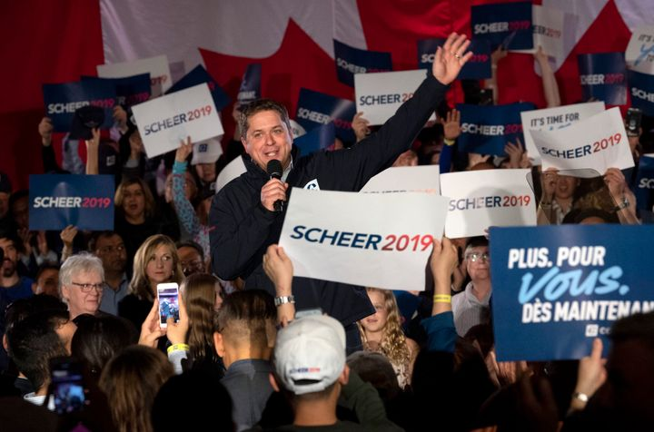 Conservative Leader Andrew Scheer waves to supporters at the end of his speech during a campaign rally in Richmond Hill, Ont. on Oct. 19, 2019.