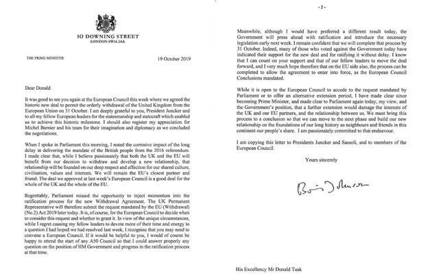 Ο Τζόνσον έστειλε στις Βρυξέλλες ανυπόγραφο το αίτημα για παράταση του