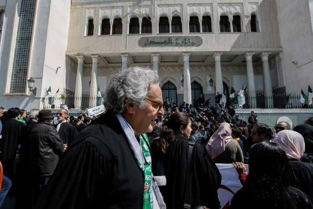 Algerian lawyers gather outside Ministry of Justice in a protest against the country's leadership in...