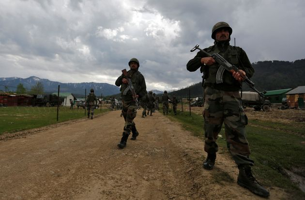 Representative image. Indian army soldiers patrol inside their army base after it was attacked by suspected...