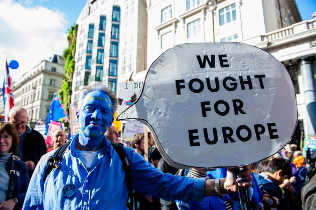 Anti-Brexit protesters take part in 'Together for the Final Say' rally on October 19th, 2019, in London,...