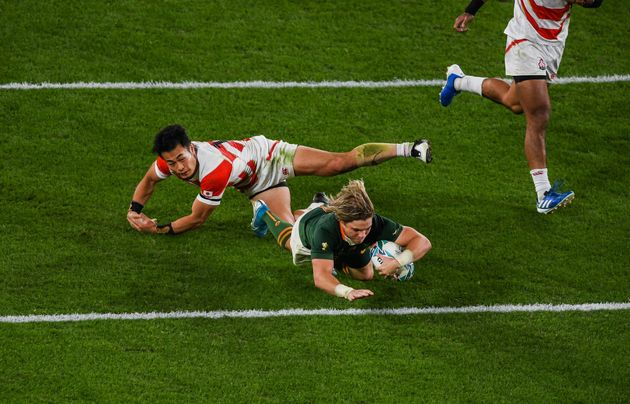 Chofu , Japan - 20 October 2019; Faf de Klerk of South Africa dives over to score his side's second try...