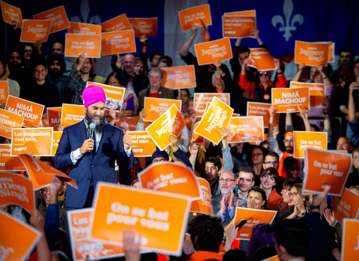 NDP leader Jagmeet Singh speaks during a rally in Montreal, Que., on Oct. 16, 2019.