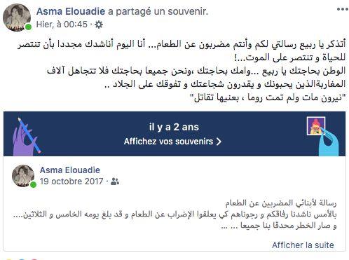 Publication d'Asma Elouadie, le 19 octobre, sur Facebook