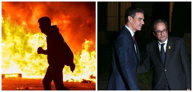 A la izquierda, disturbios en Barcelona. A la derecha, Sánchez y