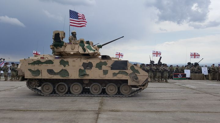 When a Bradley Fighting Vehicle, similar to the one pictured above, overturned early Sunday, three U.S. soldiers were killed.