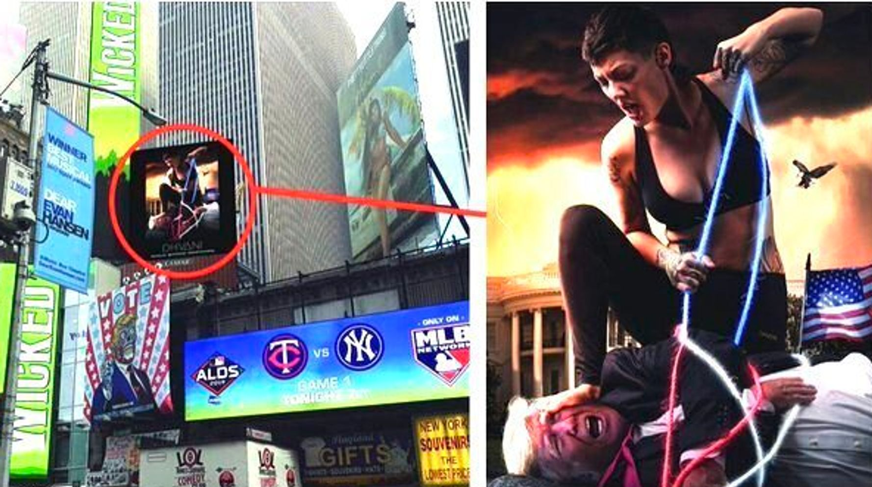 Westlake Legal Group 5dad0413210000ff1dad3595 Startling Giant Times Square Ad Shows Marine Vet With Hogtied 'Trump'