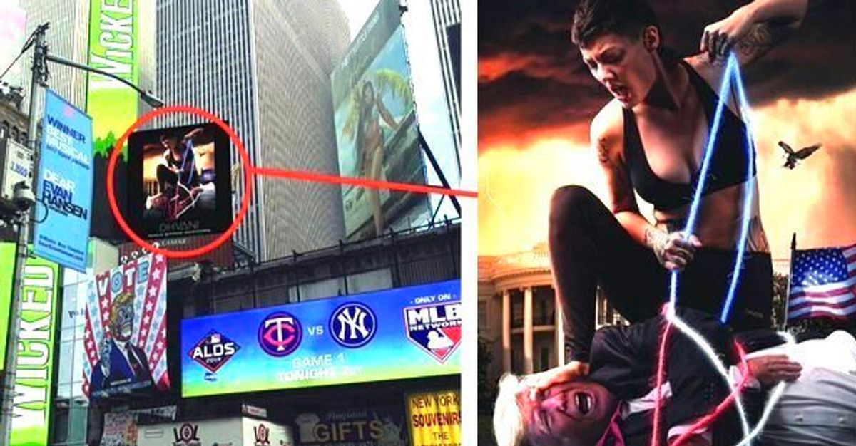 Startling Giant Times Square Ad Shows Marine Vet With Hogtied 'Trump'