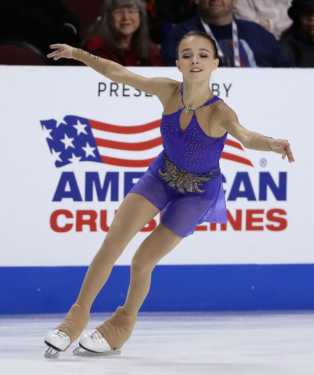 LAS VEGAS, NEVADA - OCTOBER 18: Anna Shcherbakova of Russia performs during ladies free skating in the...