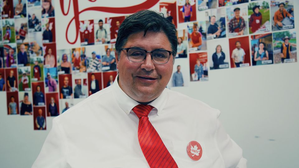 Liberal incumbent Kent Hehr in his campaign office, July