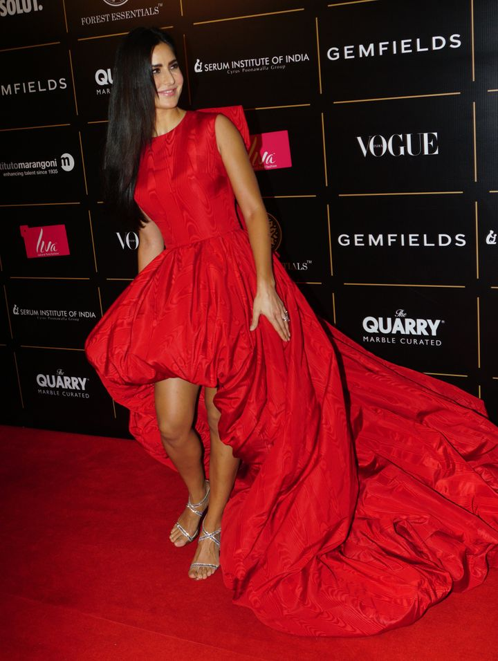 Katrina Kaif at the Vogue Women of the Year on October 19, 2019 in Mumbai, in a red&nbsp;Ashi Studio ballgown. She won&nbsp;<strong></strong>Risk Taker Of The Year at the event.