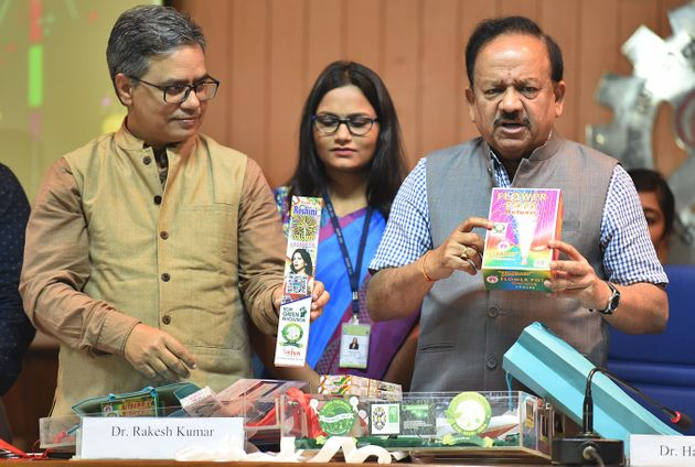 Harsh Vardhan, Union minister of health and family welfare, during the launch of green crackers on October...