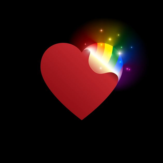 Concept coming out LGBT - opening heart glows with rainbow colors LGBTQ. Coming out icon - open rainbow...