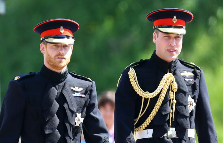 Prince Harry and Prince William pictured at Harry and Meghan's wedding last year