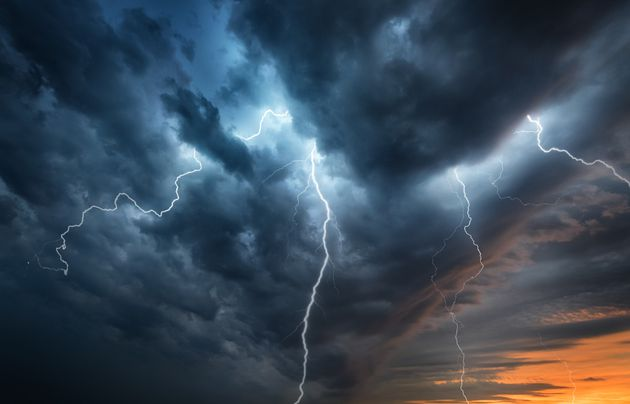 Lightning thunderstorm flash over the night sky. Concept on topic weather, cataclysms (hurricane, Typhoon,