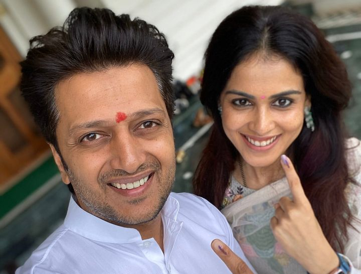 """Actor Riteish Deshmukh along with actor-wife Genelia D'Souza voted in Latur district. Sharing the picture, he tweeted, """"Go exercise your right!! Go Vote !!!"""""""