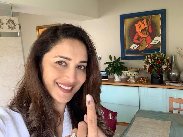 """ActressMadhuri Dixit Nene also cast her vote. Sharing a picture, she tweeted, """"Have you voted?"""""""