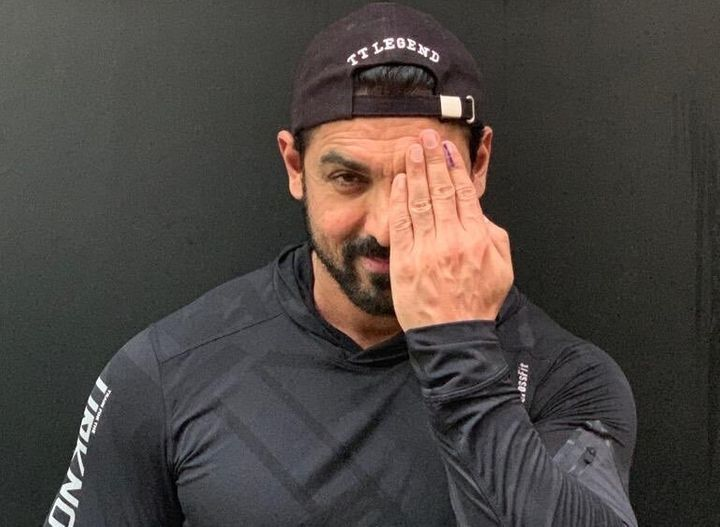"""Sharing a picture of his inked finger, John Abraham tweeted, """"Cast your vote !!!""""<a href=""""https://twitter.com/TheJohnAbraham/status/1186163497614348288/photo/1"""" aria-haspopup=""""false"""" data-focusable=""""true""""></a>"""