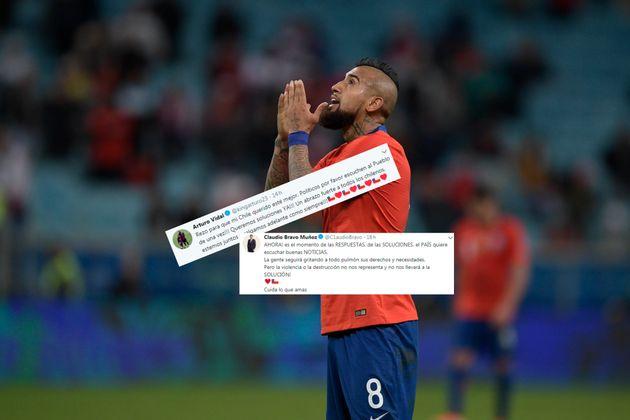 Vidal (ici le 3 juillet au Brésil avec le Chili) et d'autres stars du foot chilien exhortent le...