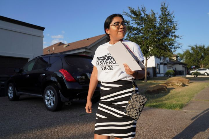 Democratic primary challenger Jessica Cisneros campaigns in Laredo, Texas, on Oct. 8, 2019.