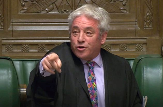 U.K. House Speaker John Bercow gestures in the Commons in London on Monday after the British government's...