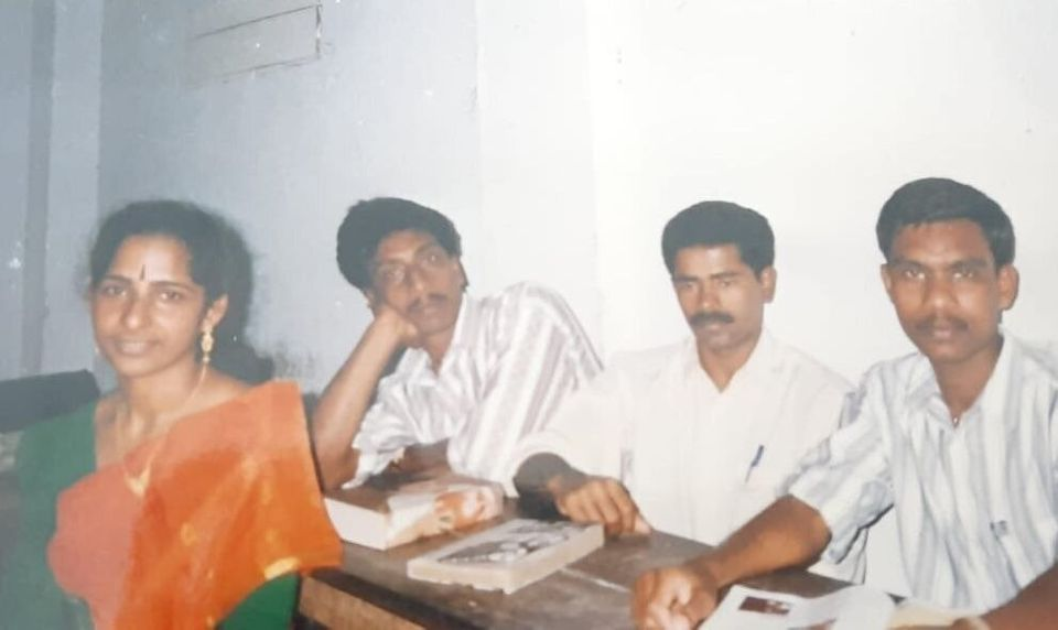 An old photo of Jolly Joseph with classmates from BCom class at a private college in Pala,
