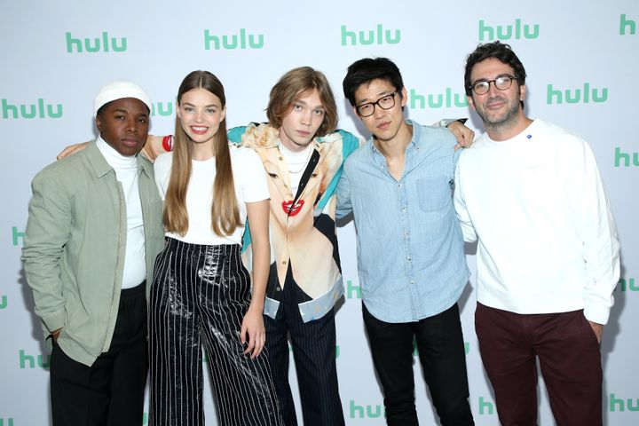 "Denny Love, Kristine Froseth, Charlie Plummer, Jay Lee, and Josh Schwartz of ""Looking for Alaska"" attend the Hulu 2019 Summer"