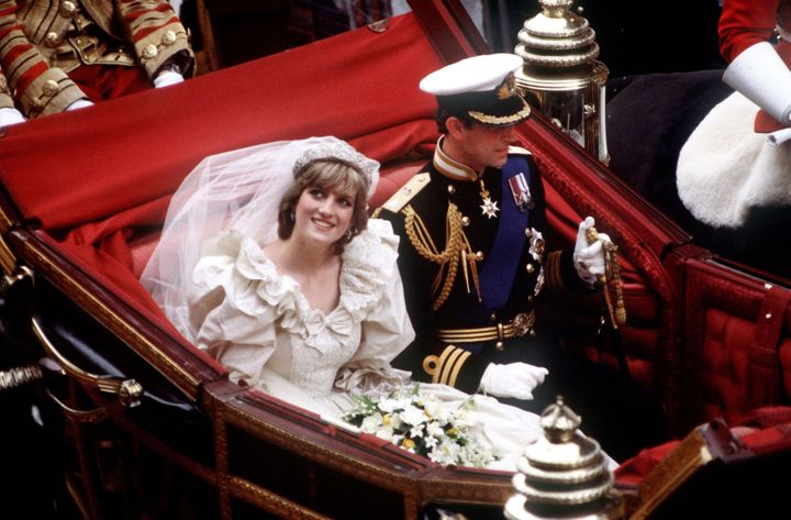 Princess Diana of Wales wore exaggerated puff sleeves at her wedding to Prince Charles in 1981.