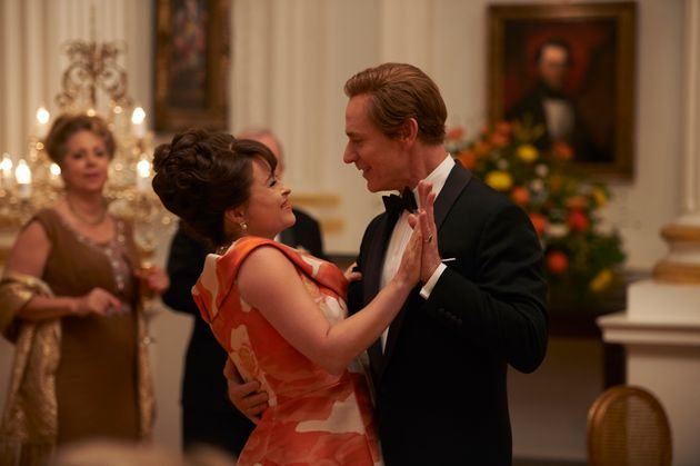 Princess Margaret (Helena Bonham Carter) dances with Antony Armstrong-Jones (Ben