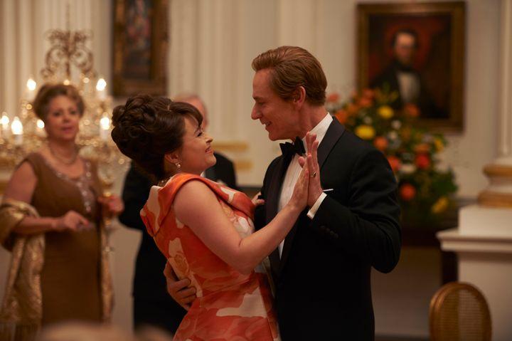Princess Margaret (Helena Bonham Carter) dances with Antony Armstrong-Jones (Ben Daniels).