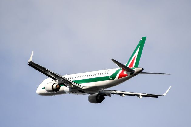 An Alitalia plane takes off from London City Airport on October 10, 2019. (Photo by Alberto Pezzali/NurPhoto...