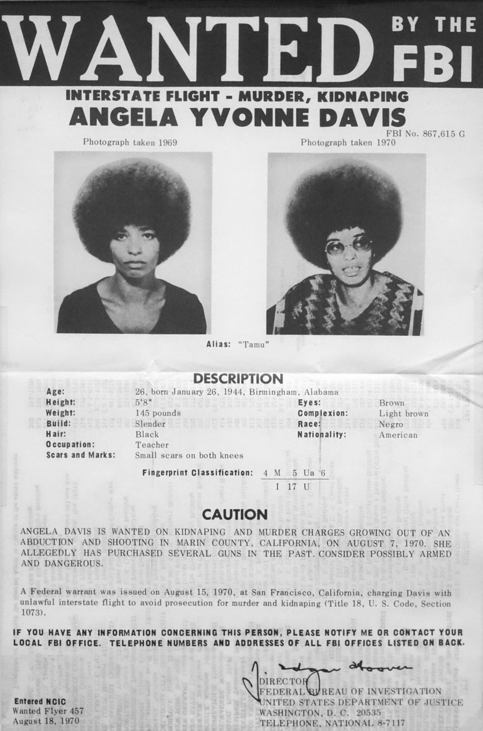 Documento policial com os dados de Angela Davis quando de sua prisão, em 1970.