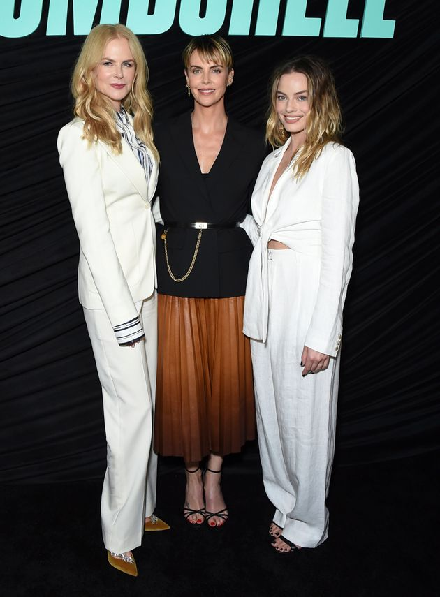 Nicole Kidman, Charlize Theron and Margot Robbie pose at a Los Angeles special screening of