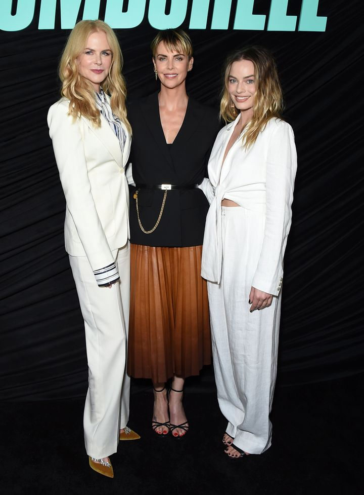 """Nicole Kidman, Charlize Theron and Margot Robbie pose at a Los Angeles special screening of """"Bombshell."""""""