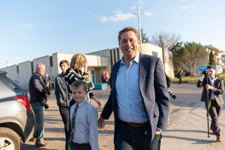 Conservative Leader Andrew Scheer leaves a voting station at Our Lady of Peace Parish on election day in Regina on Oct. 21, 2019.